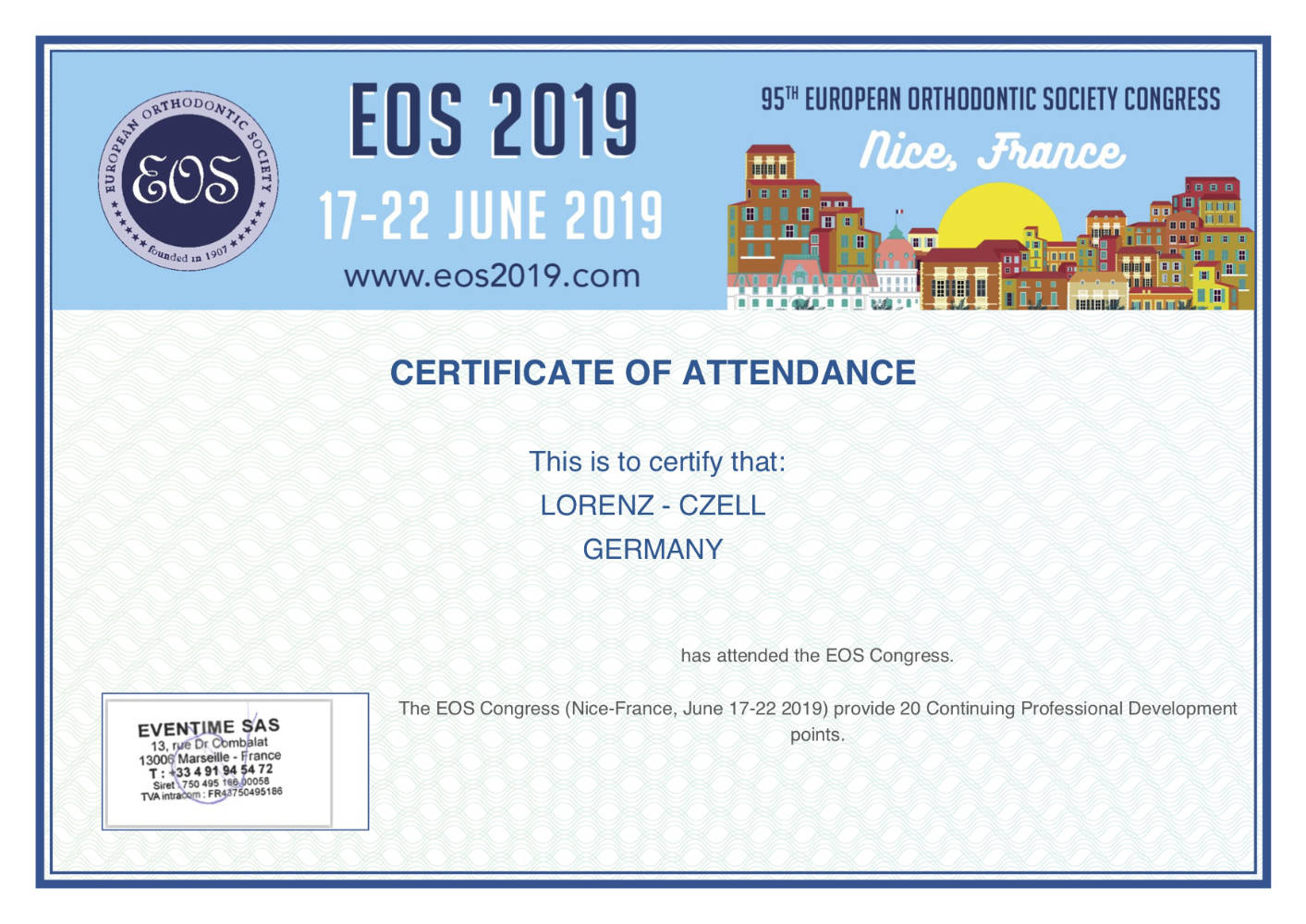 2019 06 17 22 LC 95 Congress of the European Orthodontic Society EOS